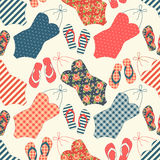 Cute seamless vintage pattern with swimsuits and flip-flops Stock Photos