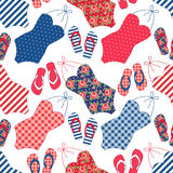 Cute seamless vintage pattern with swimsuits and flip-flops Royalty Free Stock Photo