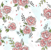 Cute seamless vintage rose pattern. Background with flowers and hearts Stock Photo
