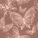 Cute seamless wallpaper pattern with butterflies Royalty Free Stock Images