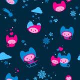 Cute seamless winter kitten background Royalty Free Stock Photos