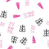 Cute seamless winter pattern with decorative elements: spruce trees and handlettering i love winter. Stock Photography