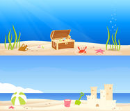 Cute seaside banners for children Stock Photography