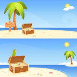 Cute seaside banners with pirate island theme Stock Images