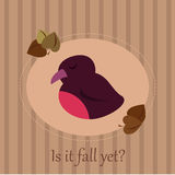 Cute seasonal card with a sleepy bird. On a striped background and autumn leaves Royalty Free Stock Photo