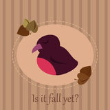 Cute seasonal card with a sleepy bird on a striped background and autumn leaves. Set of six cute colorful stylized cupcakes with frosting, icing and spCute Stock Photo