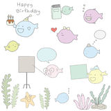 Cute seaweed and fish cartoon character style hand drawn pastel. Color Royalty Free Stock Photo