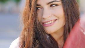 Cute seductive look darting glances woman portrait stock video