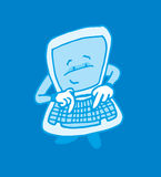 Cute self aware computer. Cartoon illustration of self aware intelligent computer typing on its keyboard Royalty Free Stock Photography