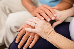 Cute senior couple holding hands Royalty Free Stock Images