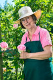Cute senior gardener with eyeglasses and hat. Royalty Free Stock Photo
