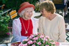 Cute senior ladies smiling and talking. Stock Images