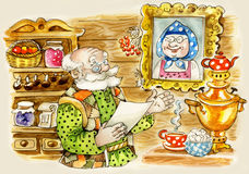 Cute senior man at home. Illustration of cute senior man at traditional country home Royalty Free Stock Photography