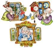 Cute seniors by windows stock illustration