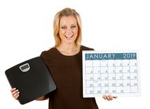 2019 Calendar: Woman Excited To Diet In January royalty free stock image