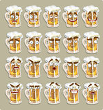 Cute series of smiles beer stickers stock photography