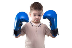 Cute serious little boy with boxing gloves Stock Photos