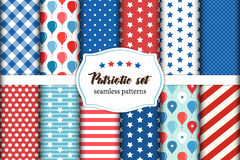 Cute set of American patriotic red, white and blue geometric seamless patterns with stars. Cute set of patriotic red, white and blue geometric seamless patterns Royalty Free Stock Images