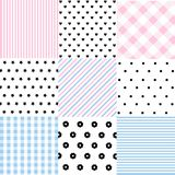 Cute set of Baby seamless patterns with fabric textures. And vector illustration royalty free illustration