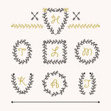 Cute set of black insignia leaves emblems icons in different shapes. On light pink background vector illustration