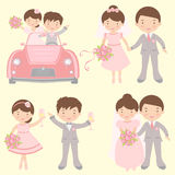 Cute set of brides and grooms Stock Photo
