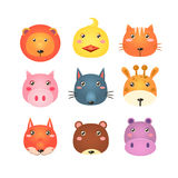 Cute Set of Cartoon Animal Heads Vector Stock Images