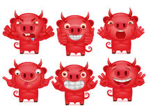 Cute set of cartoon emoticon red devil character. Vector illustration Stock Photography