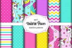 Cute set of childish seamless patterns with cartoon character of magic unicorn. For your decoration royalty free illustration