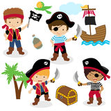 Cute set of children pirates. Four cartoon pirate kids with a treasure box, isolated on white background. Eps file available Royalty Free Stock Image