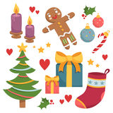 Cute set of Christmas and New Year theme elements Stock Images