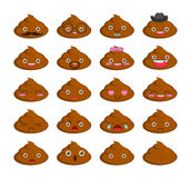 Cute set of cut poop emoticon smileys  on white background. Stock Photo