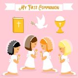 Cute set of design elements for First Communion for girls. Cute set of design elements for First Communion as girls cartoon characters Stock Photo