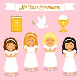 Cute set of design elements for First Communion for girls. Cute set of design elements for First Communion as girls cartoon characters Stock Images