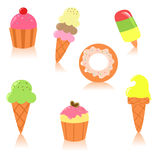 Cute set of desserts. Cute set of ice creams, muffins, donuts Royalty Free Stock Photos