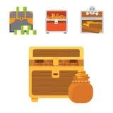 Cute set of diferent chests. Cartoon illustration chest. Safe money. Cute set of diferent chests. Cartoon illustration chest. Safe money stock illustration