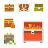 Cute set of diferent chests. Cartoon illustration chest. Safe money. Cute set of diferent chests. Cartoon illustration chest. Safe money royalty free illustration