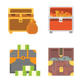 Cute set of diferent chests. Cartoon illustration chest. Safe money vector Royalty Free Stock Photo