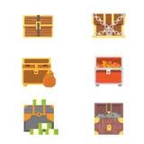 Cute set of diferent chests. Cartoon illustration chest. Safe money vector. Cute set of diferent chests. Cartoon illustration chest. Safe money vector illustration