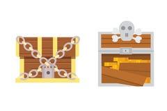 Cute set of diferent chests. Cartoon illustration chest. Safe money vector. Cute set of diferent chests. Cartoon illustration chest. Safe money royalty free illustration