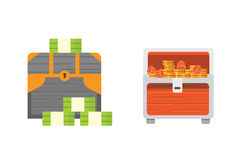 Cute set of diferent chests. Cartoon illustration chest. Safe money vector Royalty Free Stock Photography