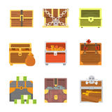 Cute set of diferent chests. Cartoon illustration chest. Safe money. wooden chests with golden coins and money Royalty Free Stock Photography