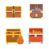 Cute set of diferent chests. Cartoon illustration chest. Safe money. wooden chests with golden coins and money. Cute set of diferent chest vector illustration
