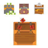 Cute set of different chests. Cartoon illustration chest. Safe money. Cute set of different chests. Cartoon illustration chest. Safe money vector illustration