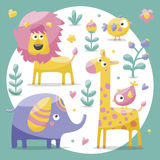 Cute set with elephants, lion,giraffe, birds, plants, jungle, flowers, hearts, leafs, stone, berry for kids  Royalty Free Stock Photo