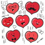 Cute set of fashion patches with cartoon characters of hearts emoji. On trendy striped background royalty free illustration