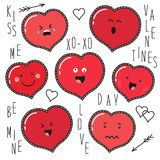Cute set of fashion patches with cartoon characters of hearts emoji. On trendy striped background vector illustration
