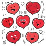 Cute set of fashion patches with cartoon characters of hearts emoji. On trendy striped background stock illustration