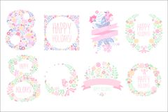 Cute set with floral elements in gentle colors. 8 March. International women s day. Happy holiday. Spring time. Original. Cute set with floral elements in gentle Stock Photos