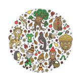 Cute set with forest kingdom elements. Circle shape. Isolated on white background. hand-drawn doodles. Vector illustration vector illustration
