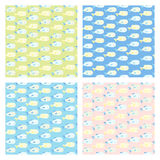 Cute set of four baby seamless vector patterns Stock Image